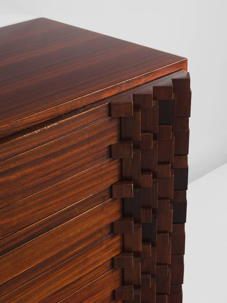 Luciana Frigerio Graphic Credenza in Rosewood In Good Condition For Sale In Waalwijk, NL