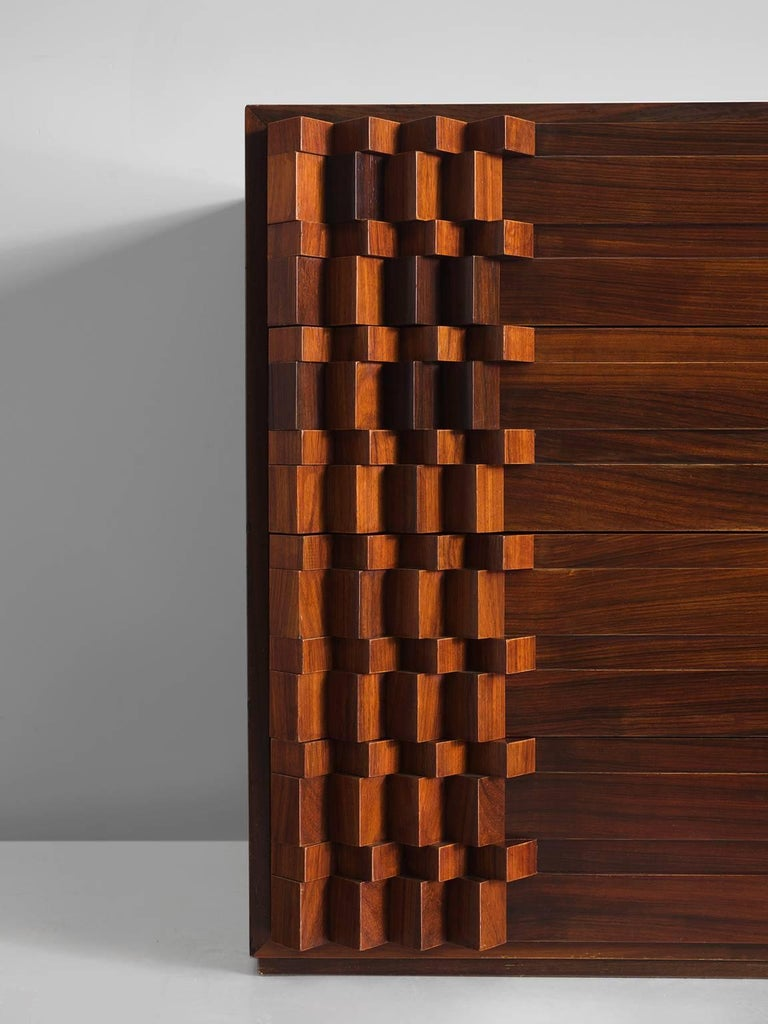 Late 20th Century Luciana Frigerio Graphic Credenza in Rosewood For Sale