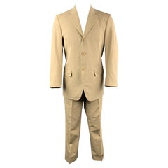 LUCIANO BARBERA 38 Regular Khaki Cotton Suit