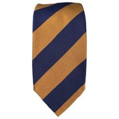 LUCIANO BARBERA Navy & Brown Stripe Silk / Cotton Tie