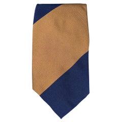 LUCIANO BARBERA Navy & Brown Twill Diagonal Stripe Silk / Cotton Tie