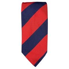 LUCIANO BARBERA Navy & Red Stripe Silk / Cotton Tie