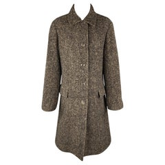 LUCIANO BARBERA Size 10 Brown & Black Marbled Alpaca Blend Coat
