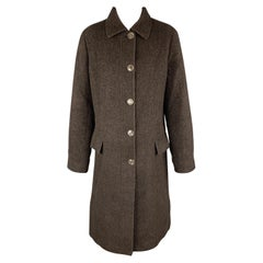 LUCIANO BARBERA Size 10 Dark Brown Sparkle Alpaca Blend Coat