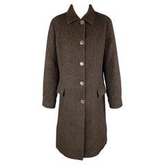LUCIANO BARBERA Size 10 Dark Brown Sparkle Alpaca Blend Coat