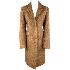 LUCIANO BARBERA Size 10 Tan Alpaca Blend Notch Lapel Coat