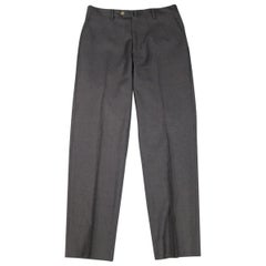 LUCIANO BARBERA Size 31 Charcoal Solid Wool Dress Pants