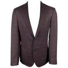 LUCIANO BARBERA Size 40 Brown & Navy Window Pane Wool Custom Sport Coat