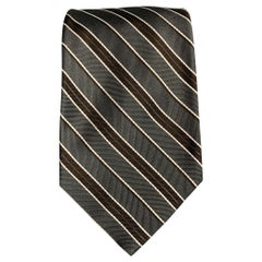 LUCIANO BARBERA Slate & Brown Stripe Silk Tie