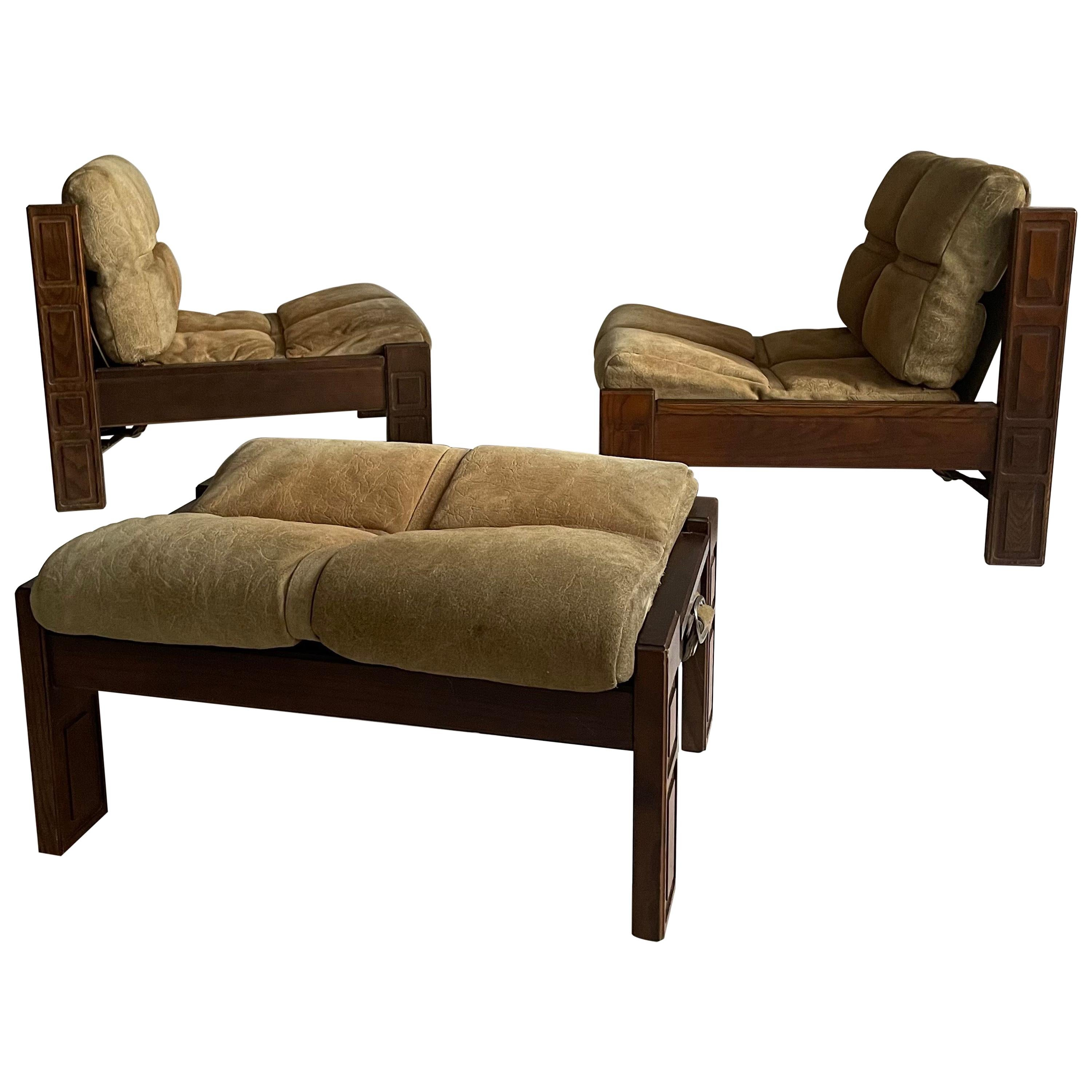 Luciano Frigerio Attributed Lounge Chairs Pair and Ottoman Suede Leather, Italy