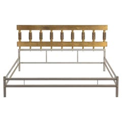 Luciano Frigerio Bed Frame Bagdad in Metal and Golden Bronze, 1970