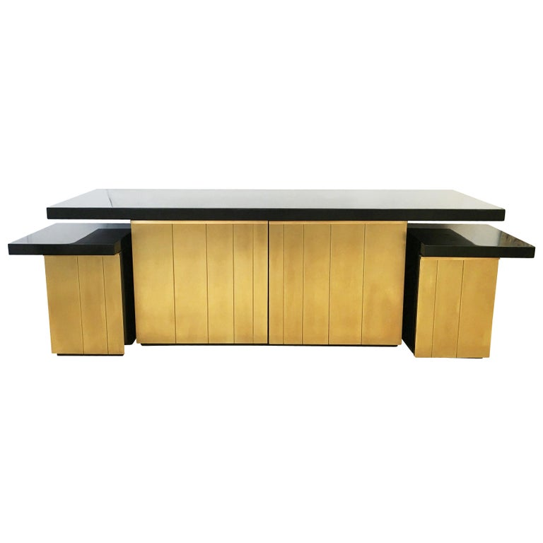 Brass Luciano Frigerio Console or Cabinet Set, Italy, 1960s For Sale