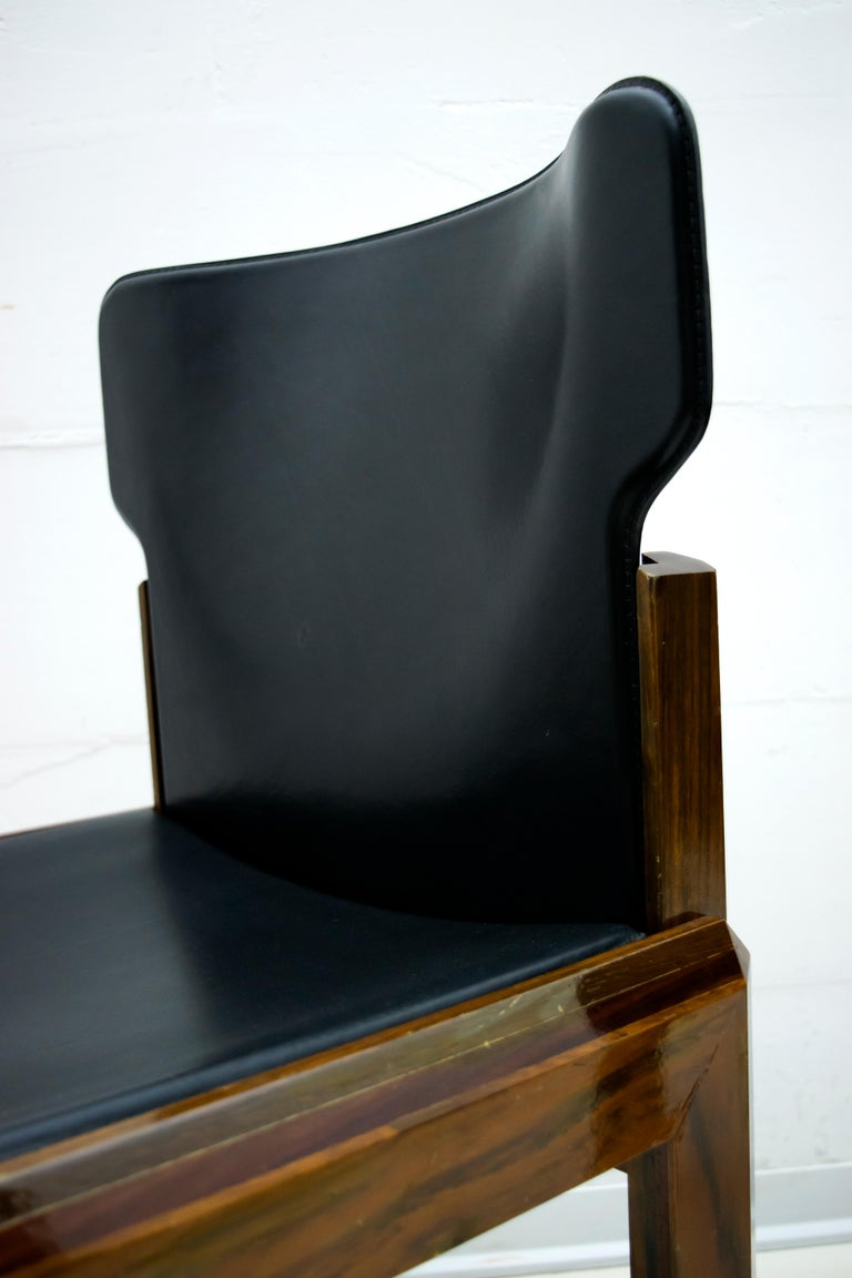 Luciano Frigerio Italian Modern Leather Dining Chairs, 1980s For Sale 5