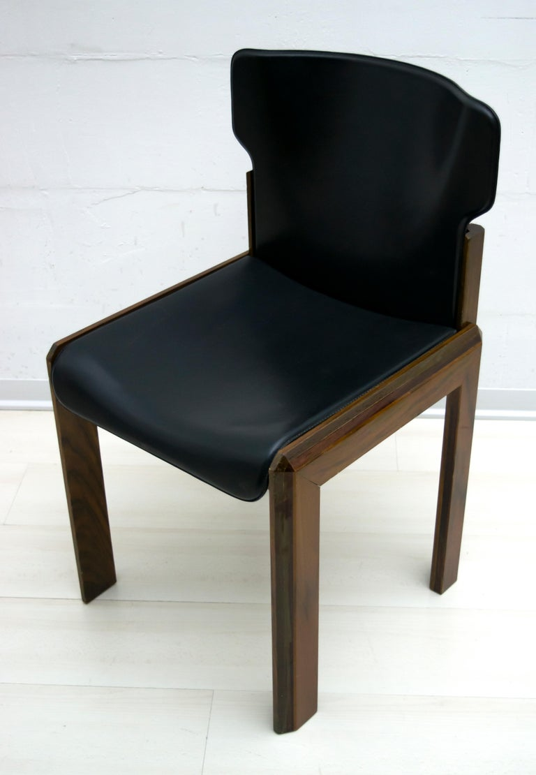 Luciano Frigerio Italian Modern Leather Dining Chairs, 1980s For Sale 6