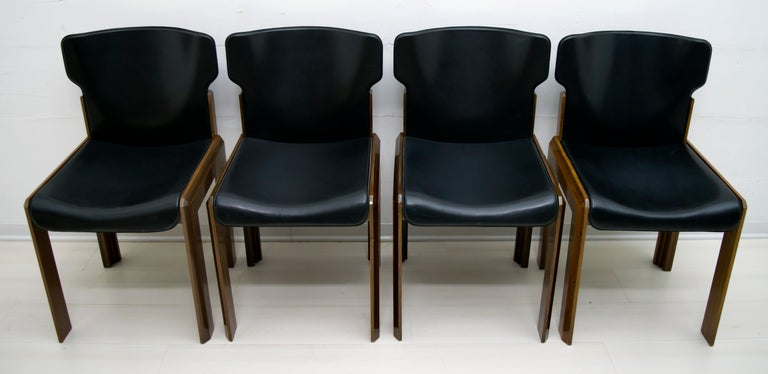 Luciano Frigerio Italian Modern Leather Dining Chairs, 1980s For Sale 7
