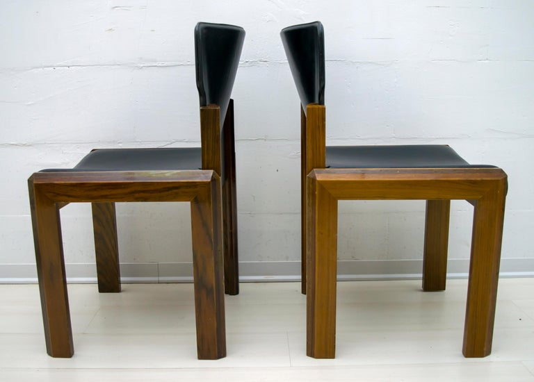 Luciano Frigerio Italian Modern Leather Dining Chairs, 1980s In Good Condition For Sale In Cerignola, Italy Puglia