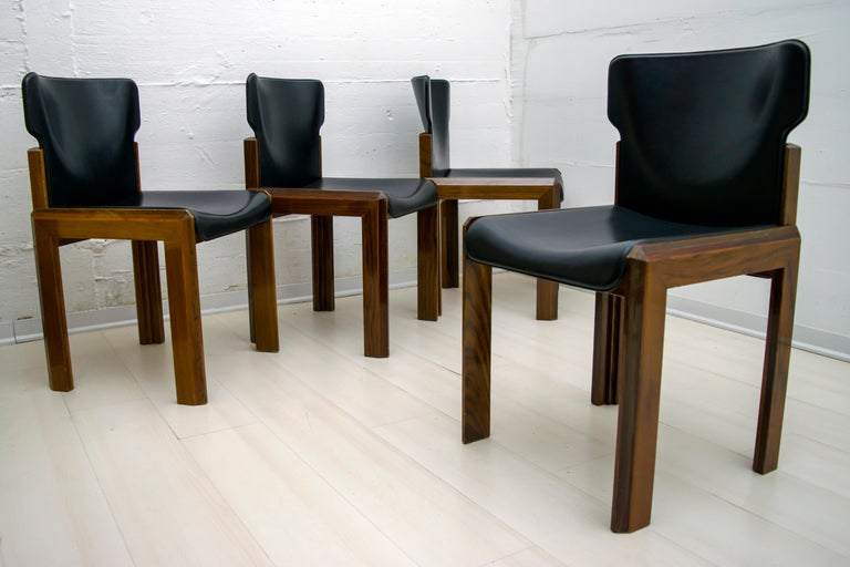 Late 20th Century Luciano Frigerio Italian Modern Leather Dining Chairs, 1980s For Sale