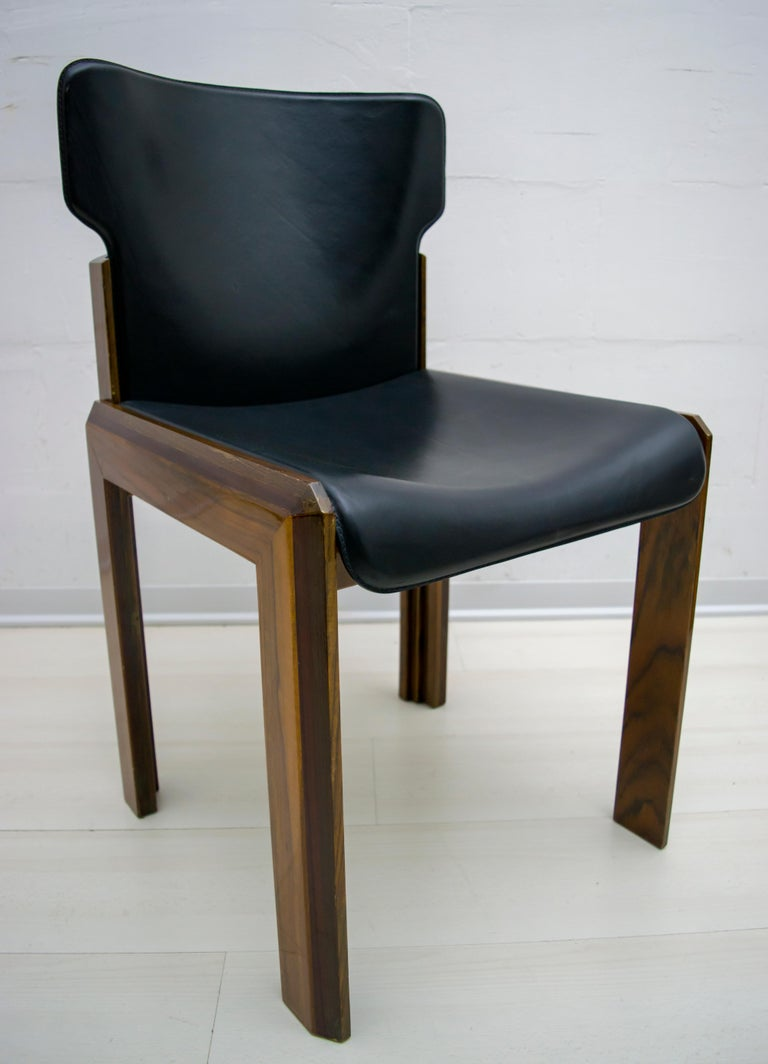 Mahogany Luciano Frigerio Italian Modern Leather Dining Chairs, 1980s For Sale