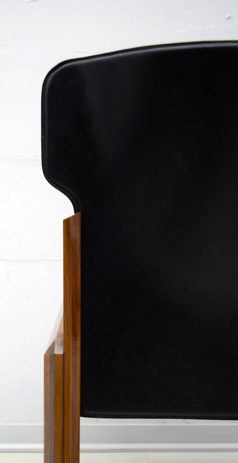 Luciano Frigerio Italian Modern Leather Dining Chairs, 1980s For Sale 3