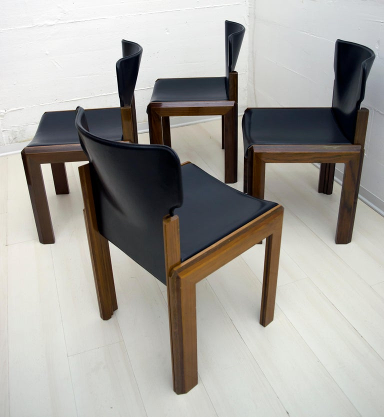 Luciano Frigerio Italian Modern Leather Dining Chairs, 1980s For Sale 4