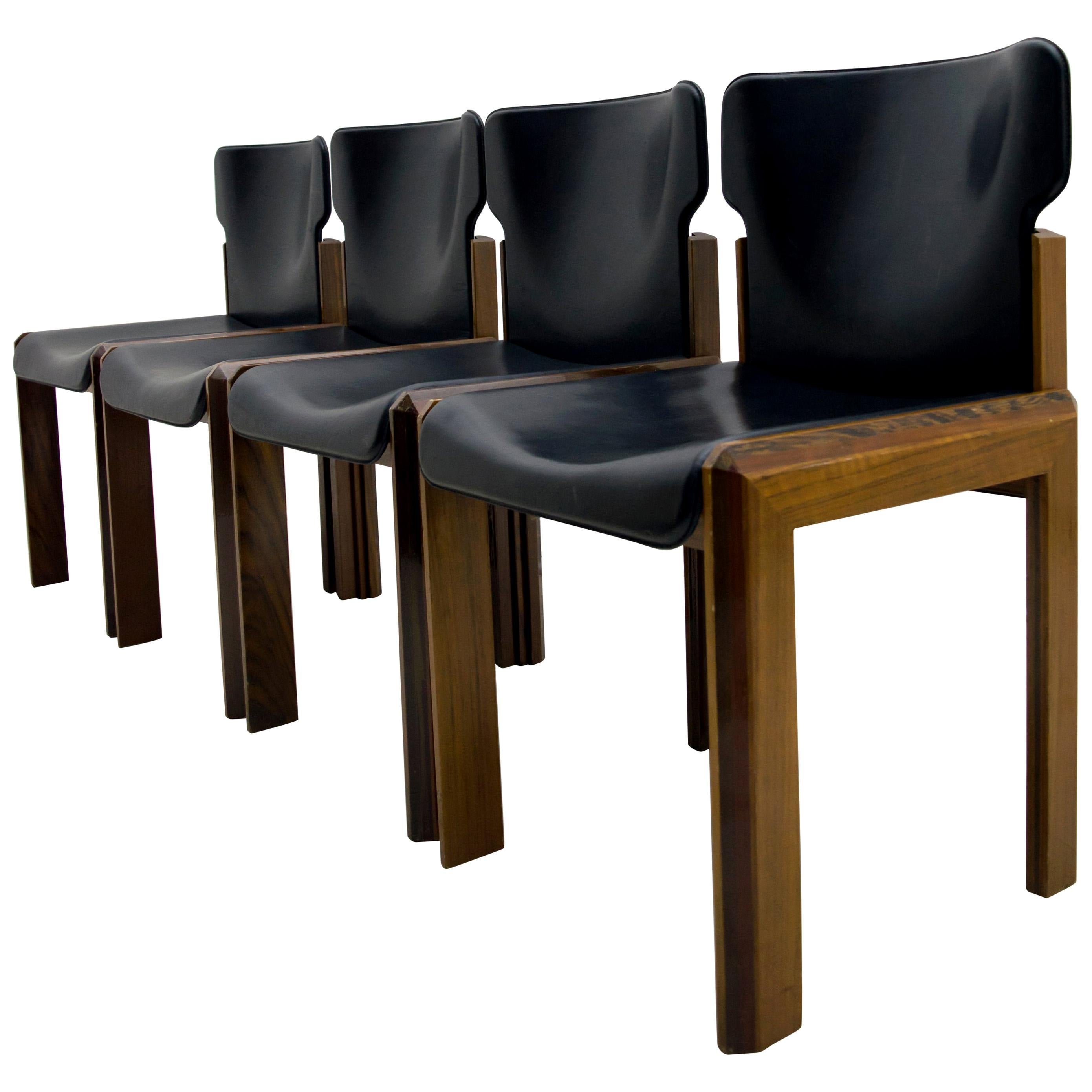 Luciano Frigerio Italian Modern Leather Dining Chairs, 1980s