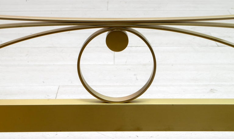 Luciano Frigerio Mid-Century Modern Gilded and Satin Brass Double Bed, 1970s For Sale 1
