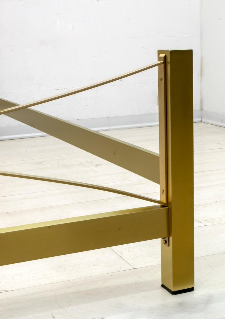Luciano Frigerio Mid-Century Modern Gilded and Satin Brass Double Bed, 1970s For Sale 2