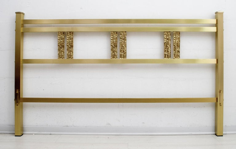 Late 20th Century Luciano Frigerio Mid-Century Modern Italian Gold Brass and Bronze Double Bed For Sale