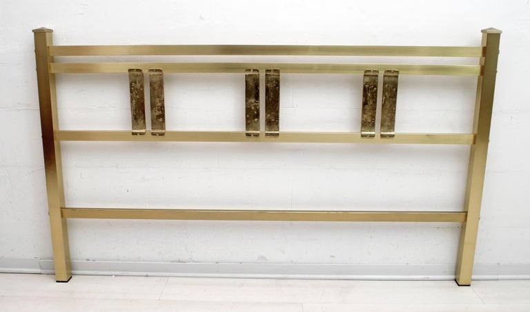 Luciano Frigerio Mid-Century Modern Italian Gold Brass and Bronze Double Bed For Sale 2