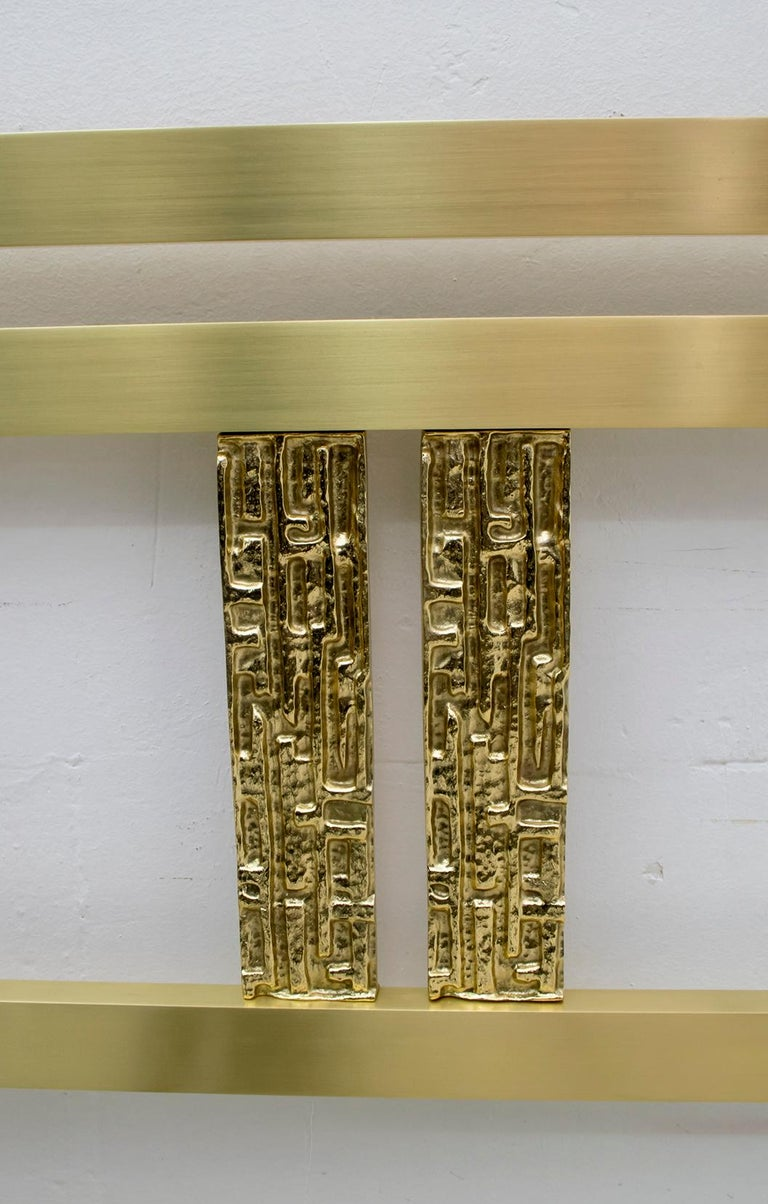 Luciano Frigerio Mid-Century Modern Italian Gold Brass and Bronze Double Bed For Sale 4
