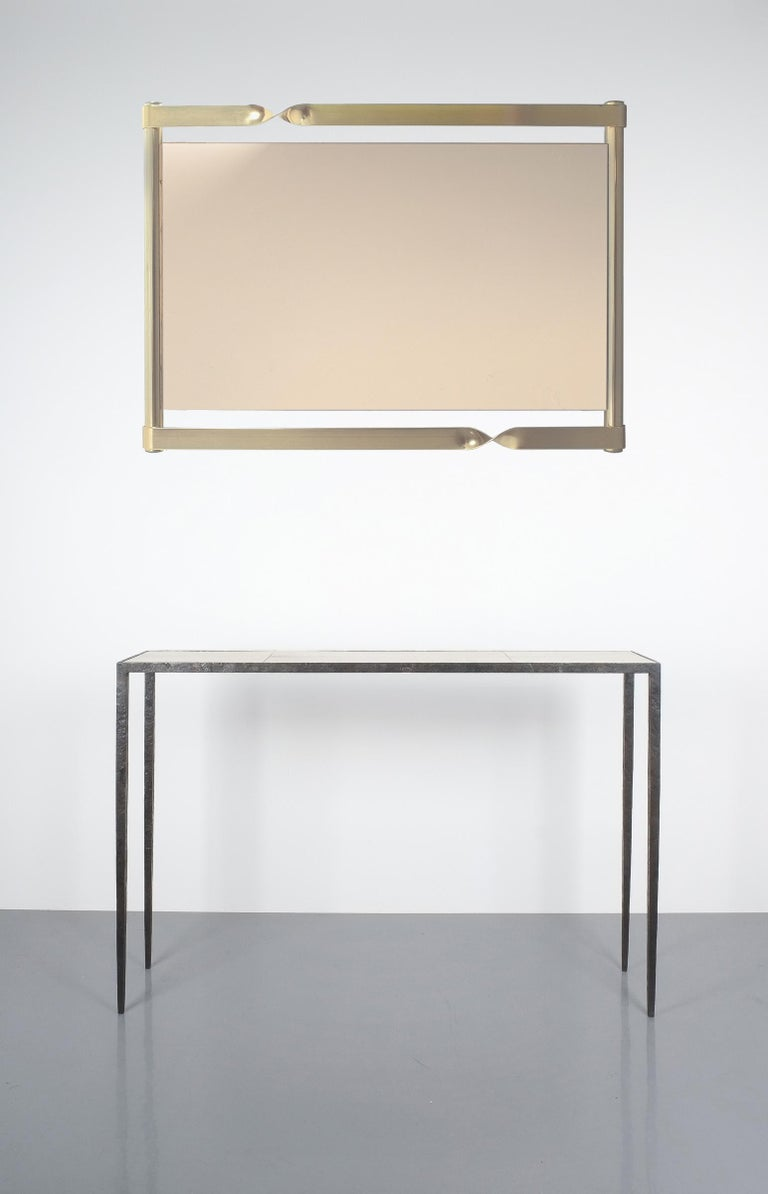 Bronzed Luciano Frigerio Midcentury Mirror with Golden Twisted Frame, Italy, circa 1965 For Sale
