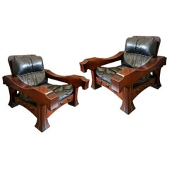 Luciano Frigerio Pair of Italian Mahogany and Black Leather Ussaro Armchairs