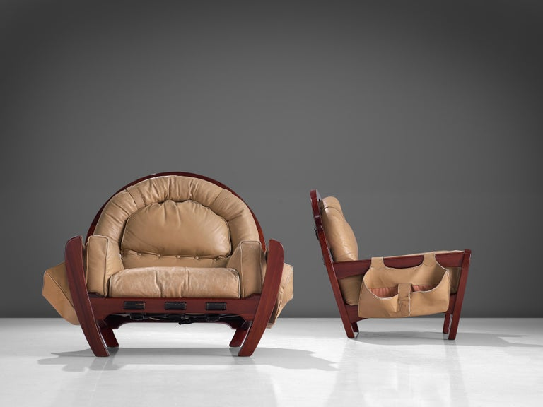 Italian Luciano Frigerio Pair of 'Rancero' Lounge Chairs in Mahogany and Leather For Sale