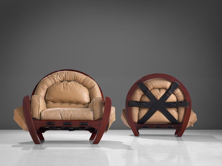 Late 20th Century Luciano Frigerio Pair of 'Rancero' Lounge Chairs in Mahogany and Leather For Sale