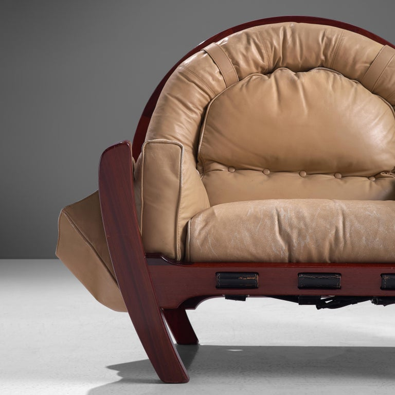 Luciano Frigerio Pair of 'Rancero' Lounge Chairs in Mahogany and Leather For Sale 1