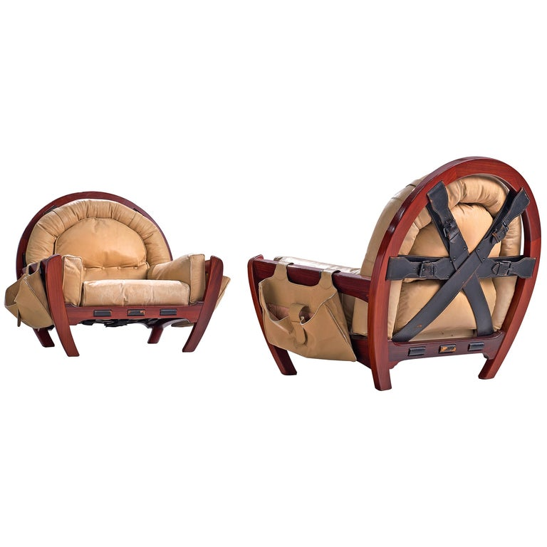 Luciano Frigerio Pair of 'Rancero' Lounge Chairs in Mahogany and Leather For Sale