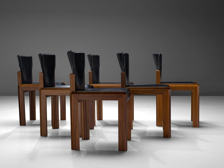 Italian Luciano Frigerio Set of Six Black Leather Chairs For Sale