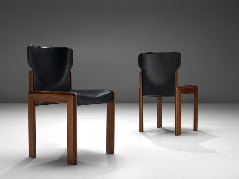 Late 20th Century Luciano Frigerio Set of Six Black Leather Chairs For Sale
