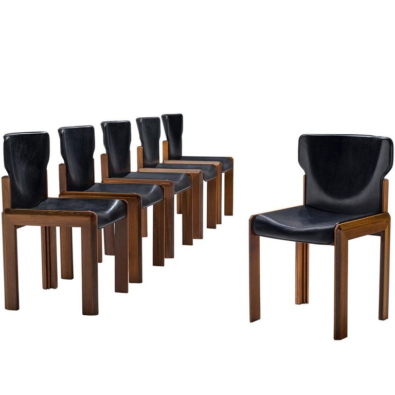 Luciano Frigerio Set of Six Black Leather Chairs For Sale