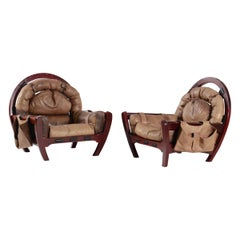 Luciano Frigerio Set of Two Rancero Armchairs in Wood and Leather, 1970