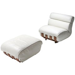 Luciano Frigerio Walnut and Leather Lounge Chairs with Ottoman