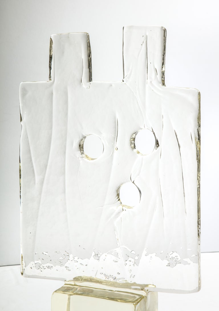 Large, architectonic glass sculpture pierced by three holes on a block base by Luciano Gaspari for Salviati, circa 1960s.