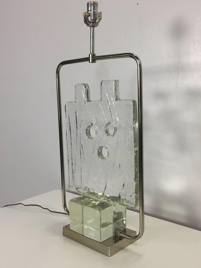 Luciano Gaspari Murano Glass Sculpture Chrome Table Lamp In Excellent Condition In Philadelphia, PA