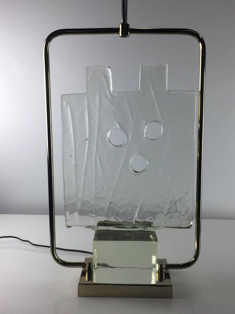 20th Century Luciano Gaspari Murano Glass Sculpture Chrome Table Lamp