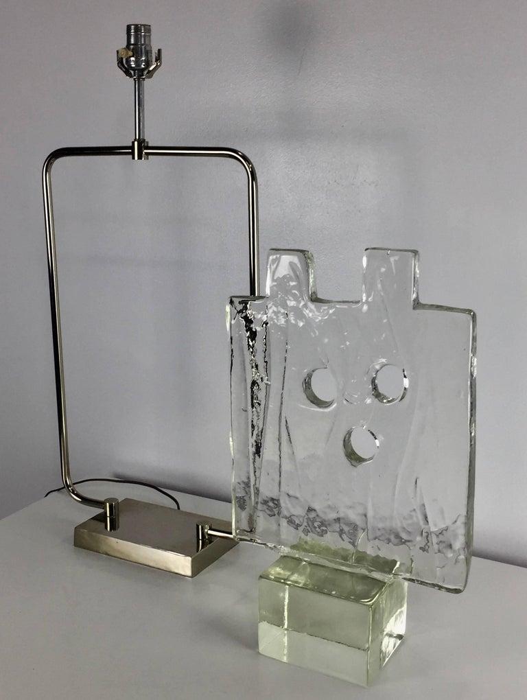 Luciano Gaspari Murano Glass Sculpture Chrome Table Lamp 1