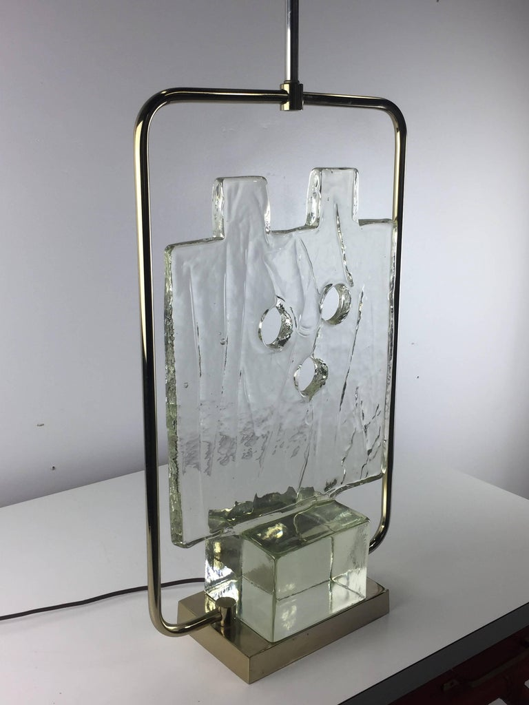 Luciano Gaspari Murano Glass Sculpture Chrome Table Lamp 2