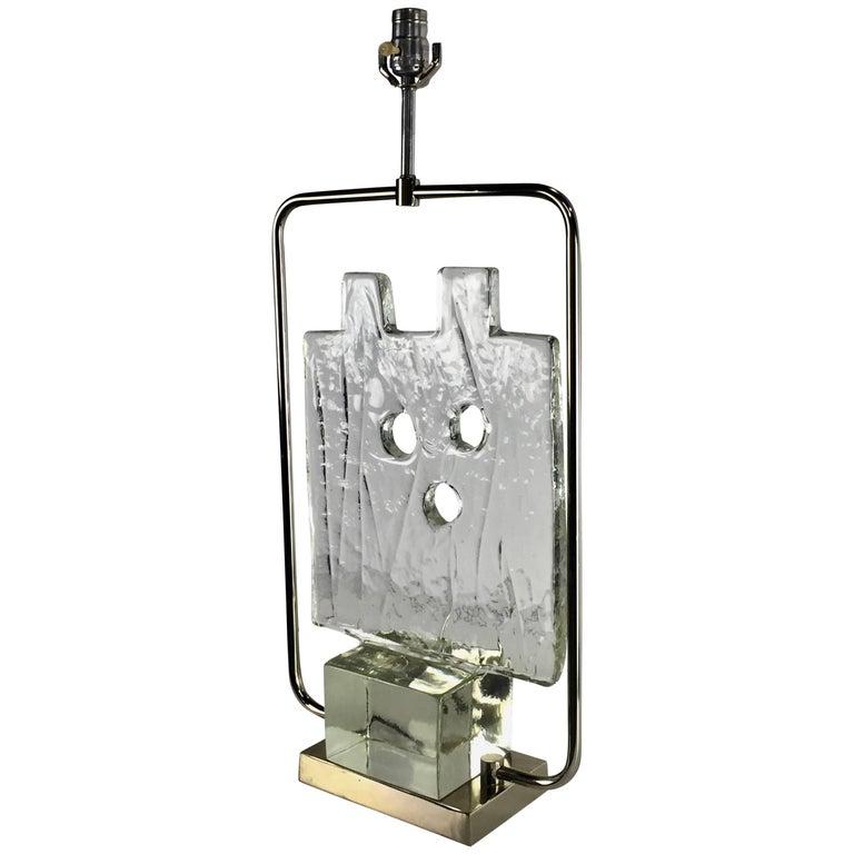 Luciano Gaspari Murano Glass Sculpture Chrome Table Lamp
