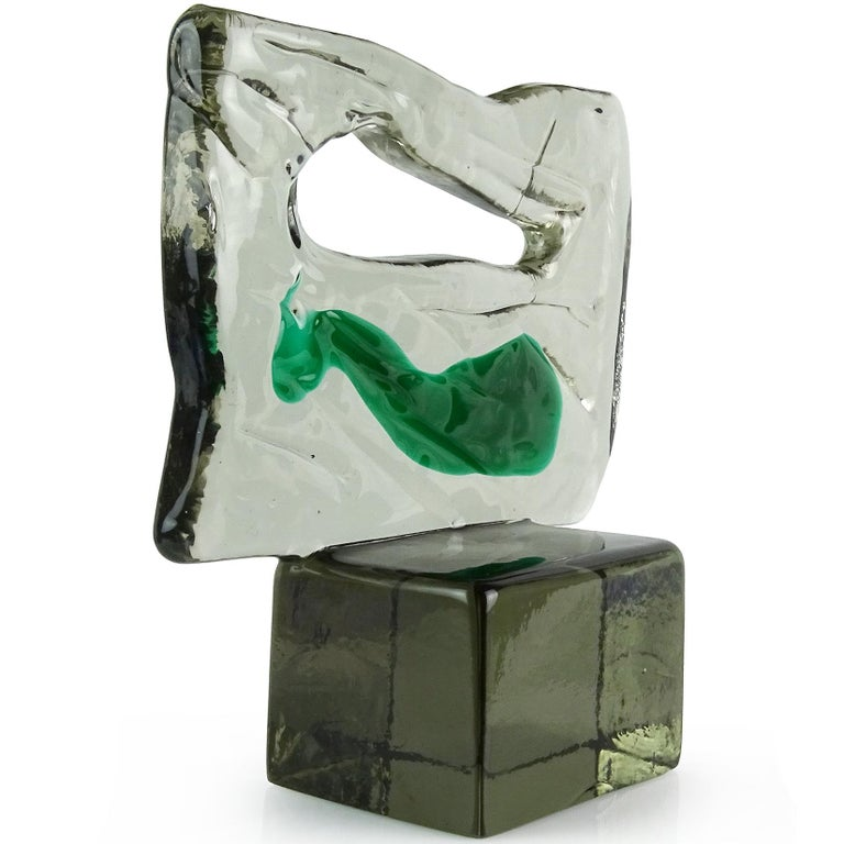 Beautiful vintage Murano hand blown smoky grey color with green paint stroke Italian art glass sculpture. Documented to Luciano Gaspari for the Salviati company. Has a Modernist abstract design, with textured glass slab mounted on a smooth block
