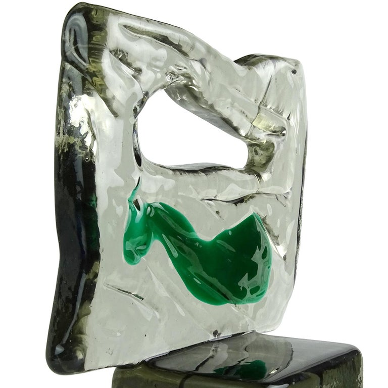 Mid-Century Modern Luciano Gaspari Salviati Murano Smoky Green Italian Art Glass Abstract Sculpture For Sale