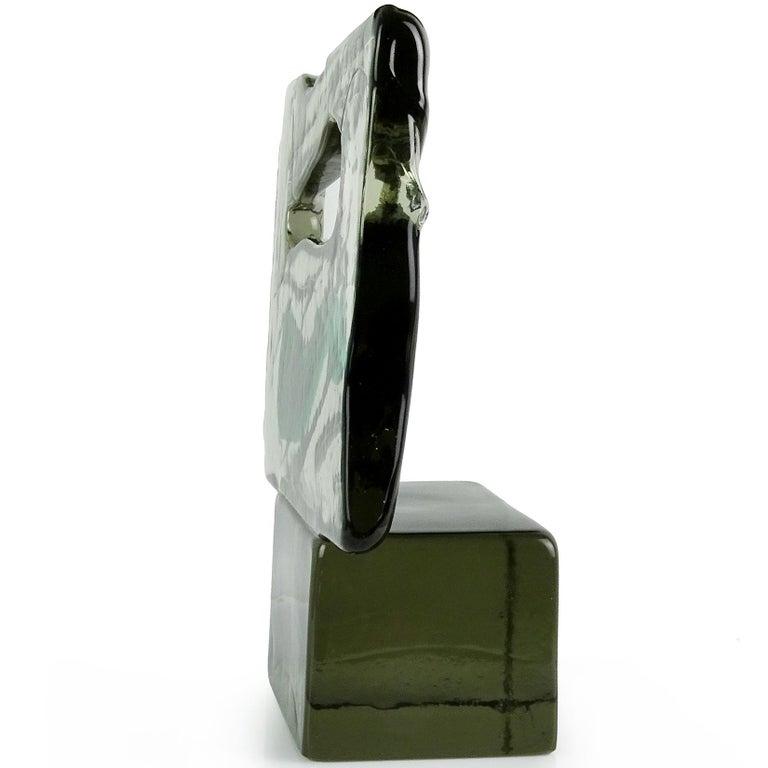 Luciano Gaspari Salviati Murano Smoky Green Italian Art Glass Abstract Sculpture In Good Condition For Sale In Kissimmee, FL